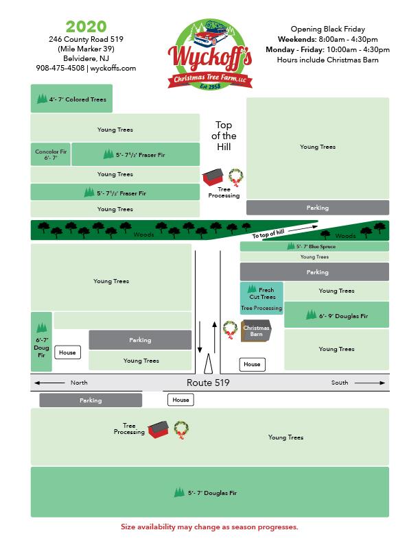 map of Wyckoff's Christmas Tree Farm